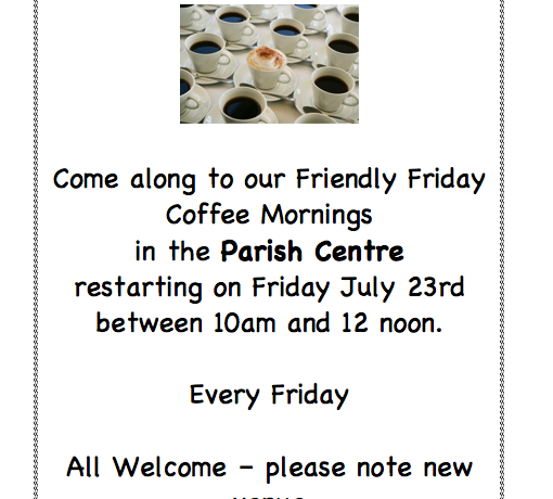 Friendly Fridays – Restarting 23rd July in the Parish Centre